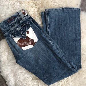 Miss Me Cow Hair Pocket Jeans